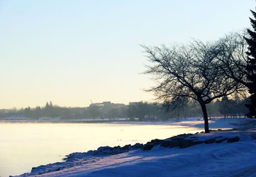 December Morning at West End Beach: Downtown Traverse City