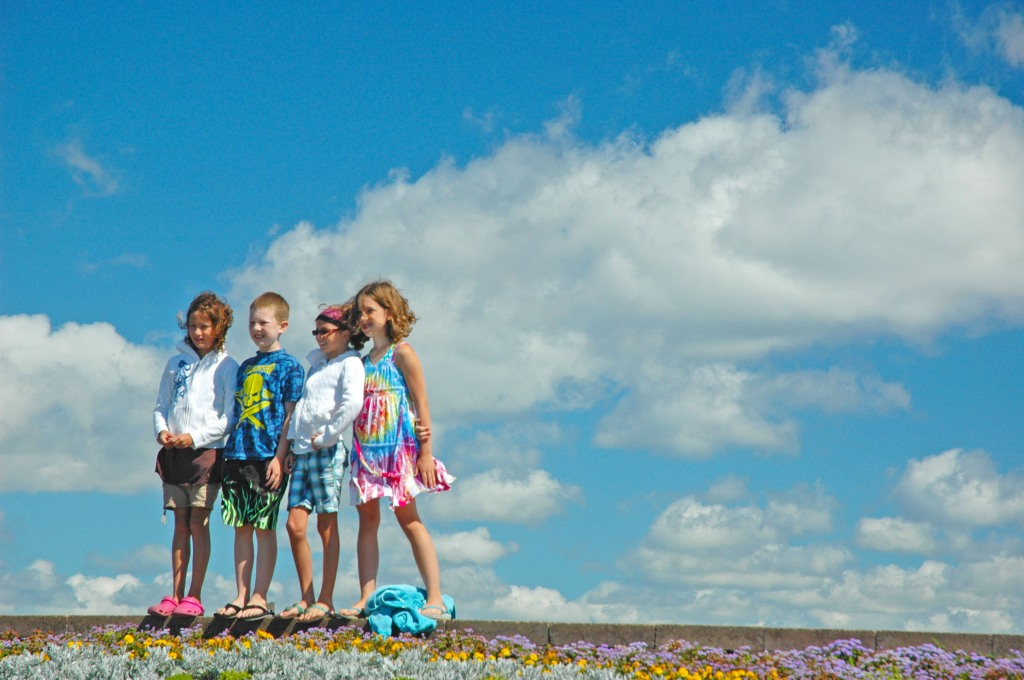 Children posing at Traverse City's Open Space Park