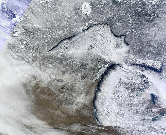 A satellite view of lake-effect clouds sweeping down on us.