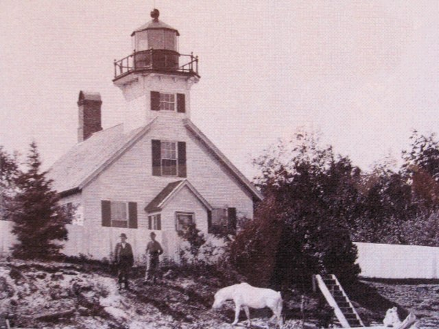 A historic photo of the lighthouse (notice the white horse!)