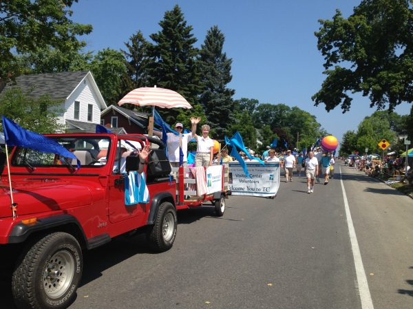 Walking in the Cherry Royale Parade -- yeah, that's me under the big beach ball.